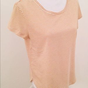 👍H&M  STRIPE TSHIRT ROUND BOTTOM. White & Copper